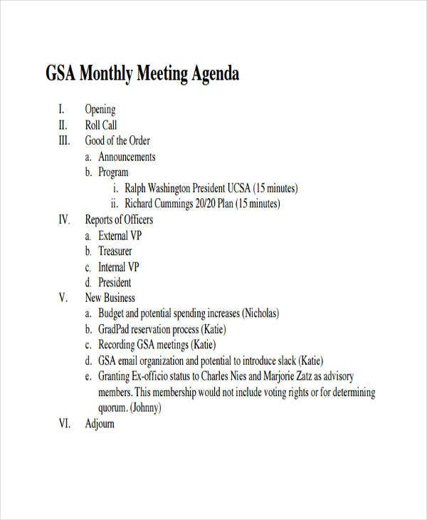basic monthly meeting agenda