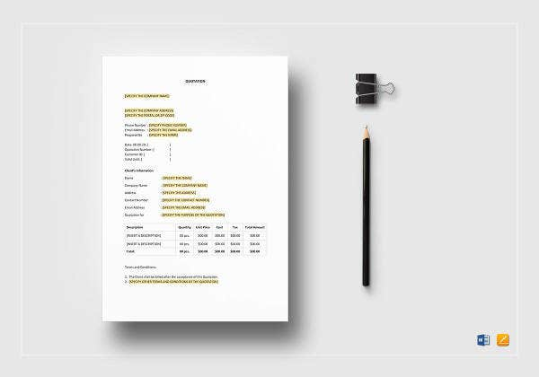 basic quotation template in pages