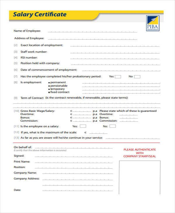 salary certificate formats 17 free word excel pdf