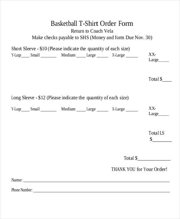 basketball t shirt order