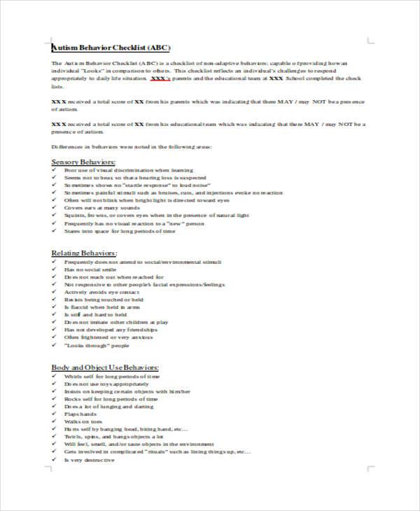 behavior checklist in doc