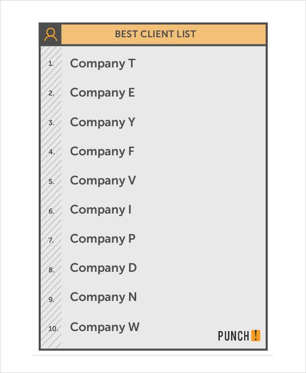 best client list
