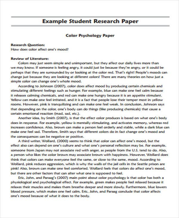Research Paper Example - Example of a Research Paper