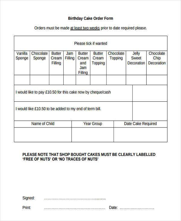 Cake Order Forms  Free Samples Examples Format Download  Free