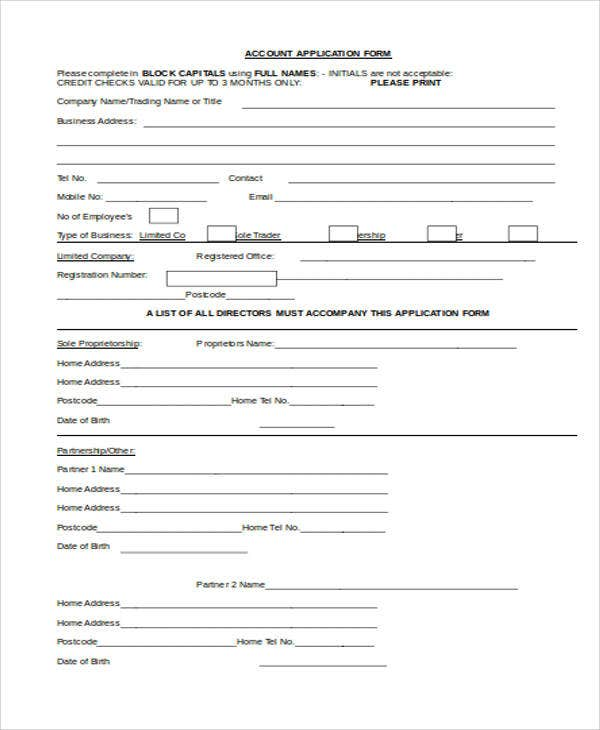 blank account application