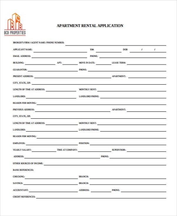 on sample application form for apartment rental