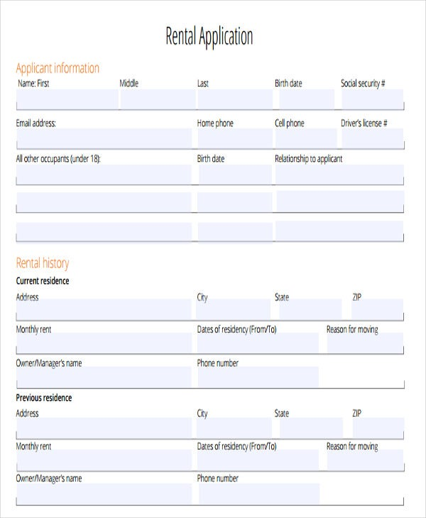 blank authorization rental application