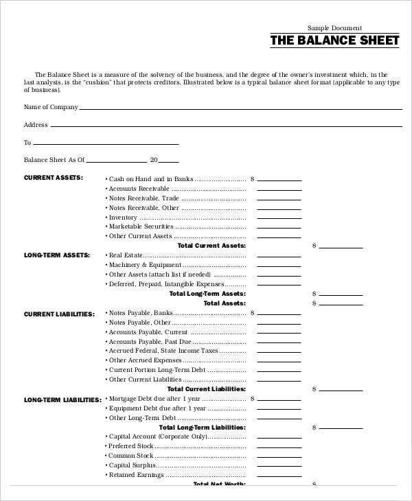 Balance Sheet Blank. Financial Statements Templates For Nonprofit