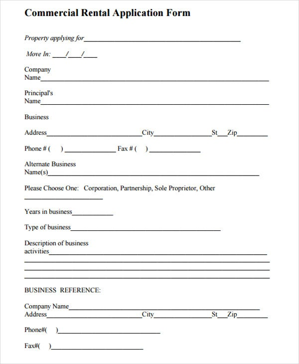 blank commercial rental application