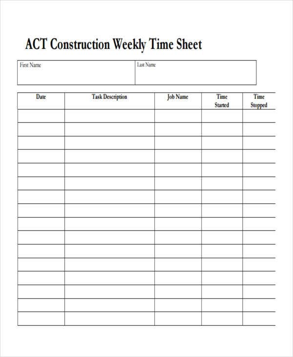blank construction timesheet
