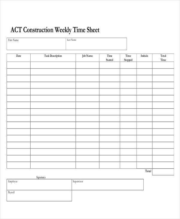 graphic regarding Printable Time Sheet known as 30+ Printable Timesheet Templates - Term, PDF Absolutely free