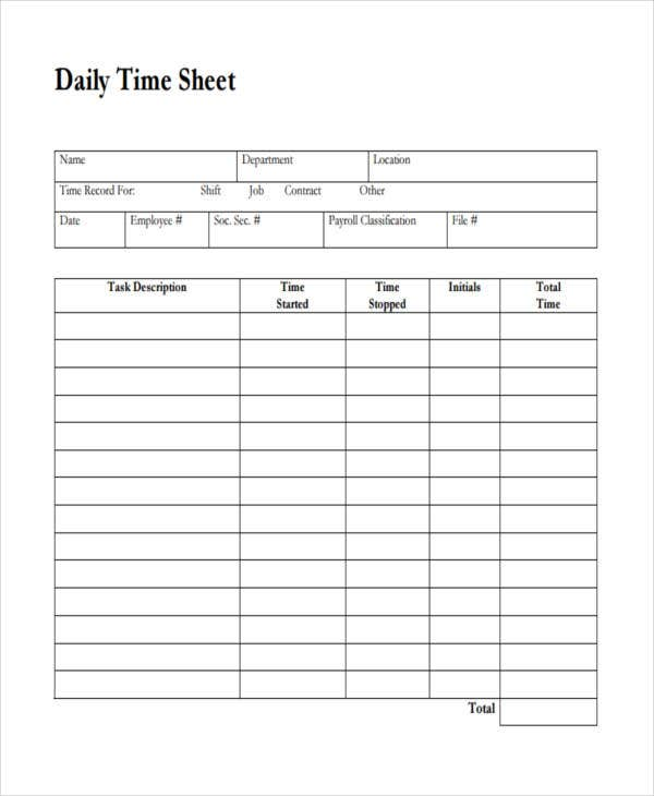 blank daily timesheet
