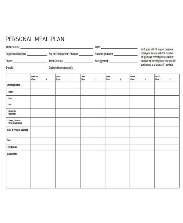 Diet Plan Templates  Free Sample Example Format Download
