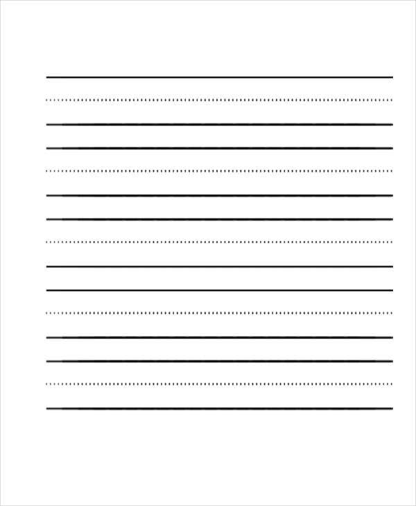 Nice Ruled Paper For Kindergarten  Elementary Lined Paper Template