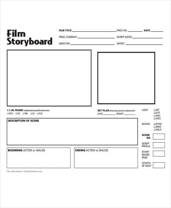 blank film storyboard