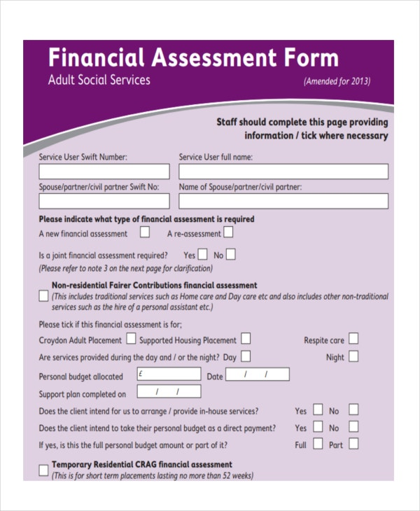 blank financial assessment