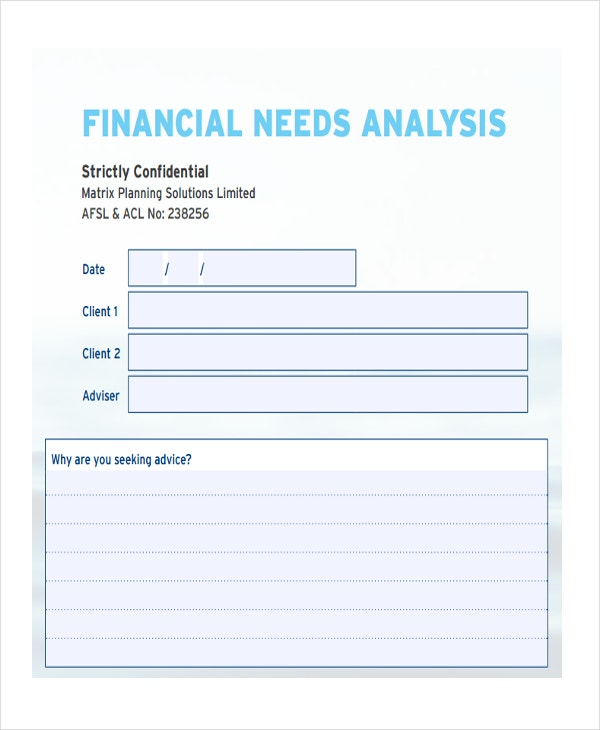 33 financial analysis samples free premium templates for Financial needs analysis template free