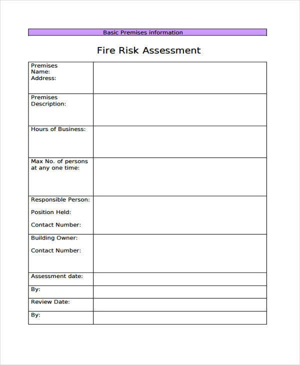 blank fire risk assessment
