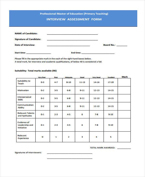 blank interview assessment form