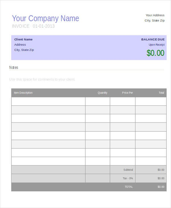 blank job invoice
