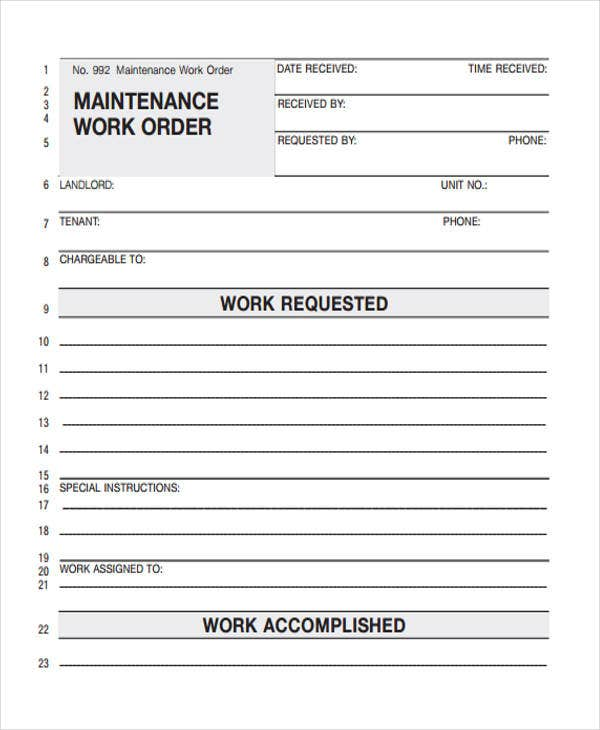 blank maintenance work order