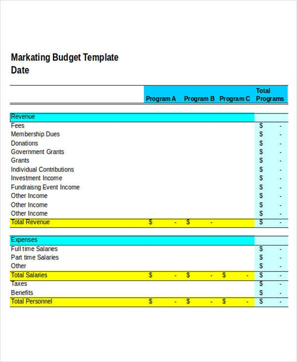 blank marketing budget
