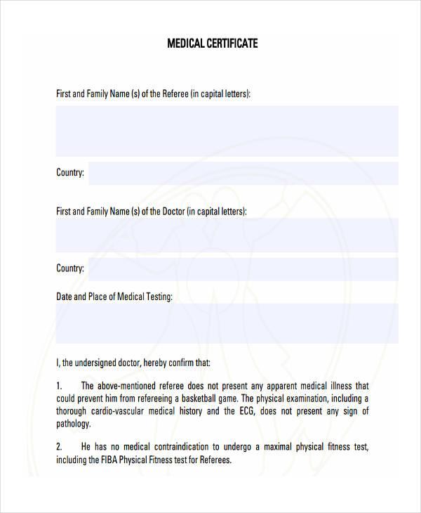 blank medical certificate