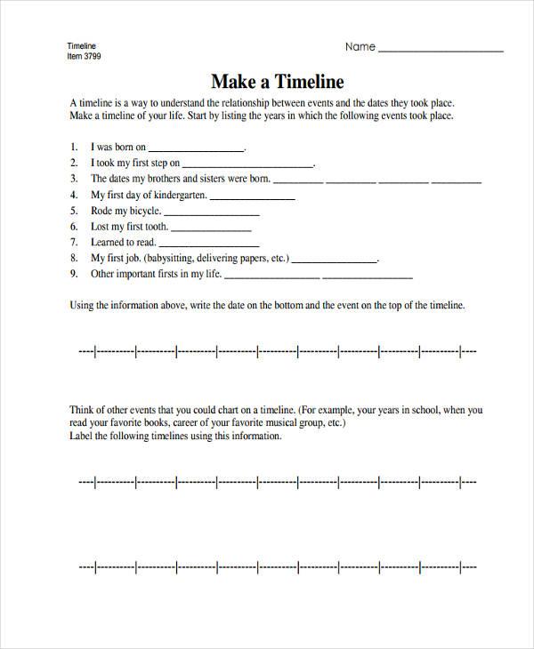 blank personal timeline