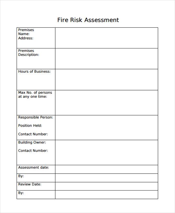 blank risk assessment of fire