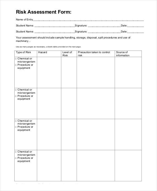 blank risk assessment