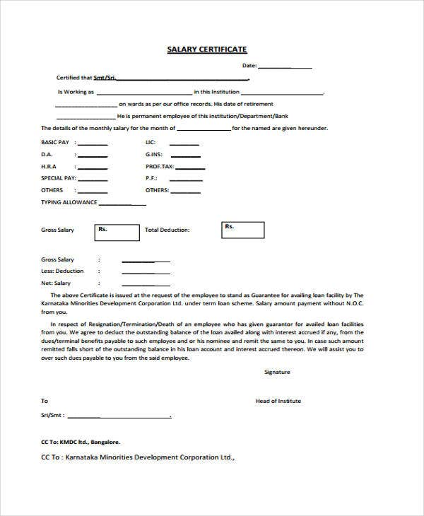 Salary Certificate Format Download  Salary Certificate Templates