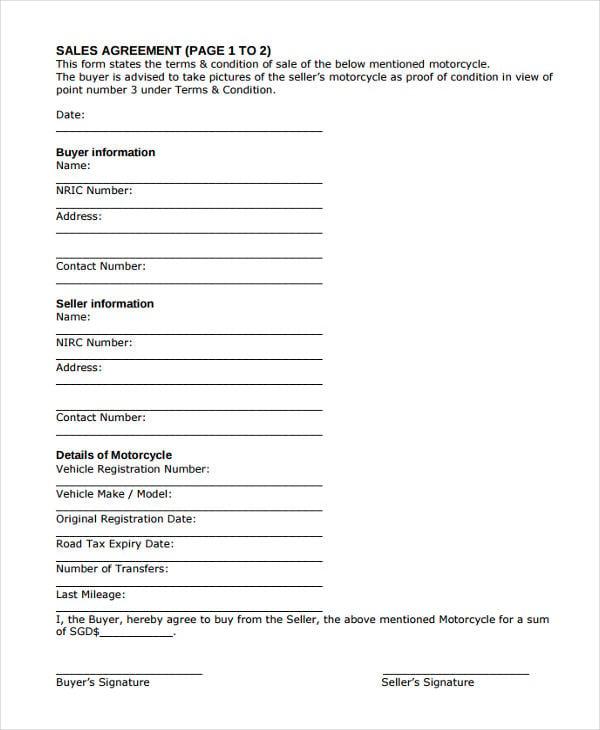 blank sales agreement