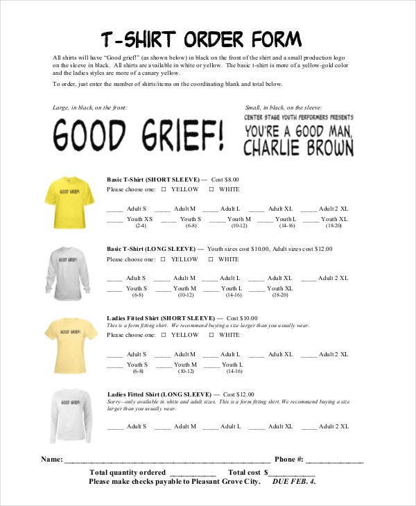 TShirt Order Forms  Free Sample Example Format Download