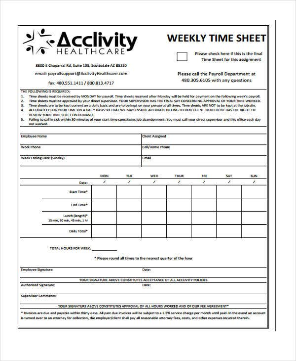 blank weekly timesheet