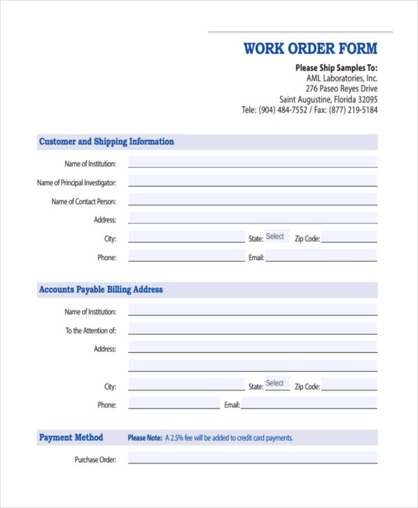 free printable work order template - blank work order forms bing images