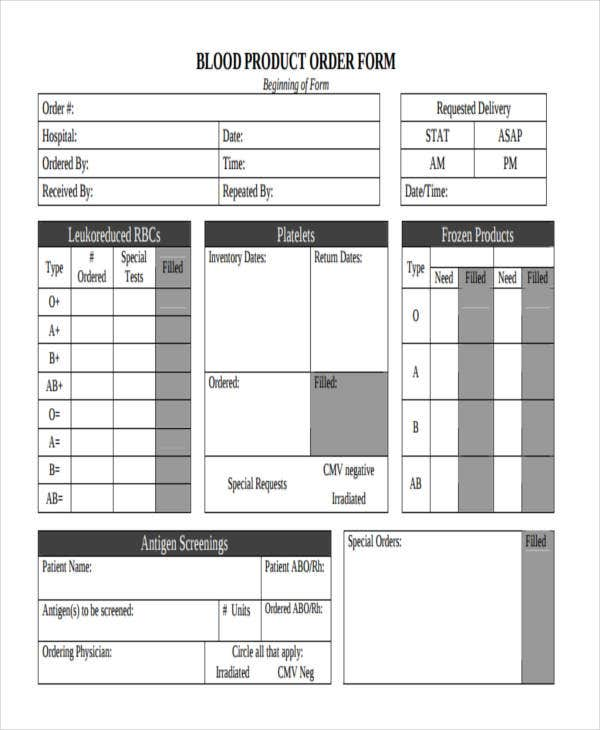 9 Product Order Forms Free Samples Examples Format