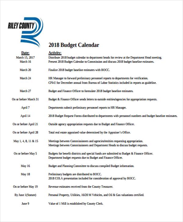 budget calendar sample