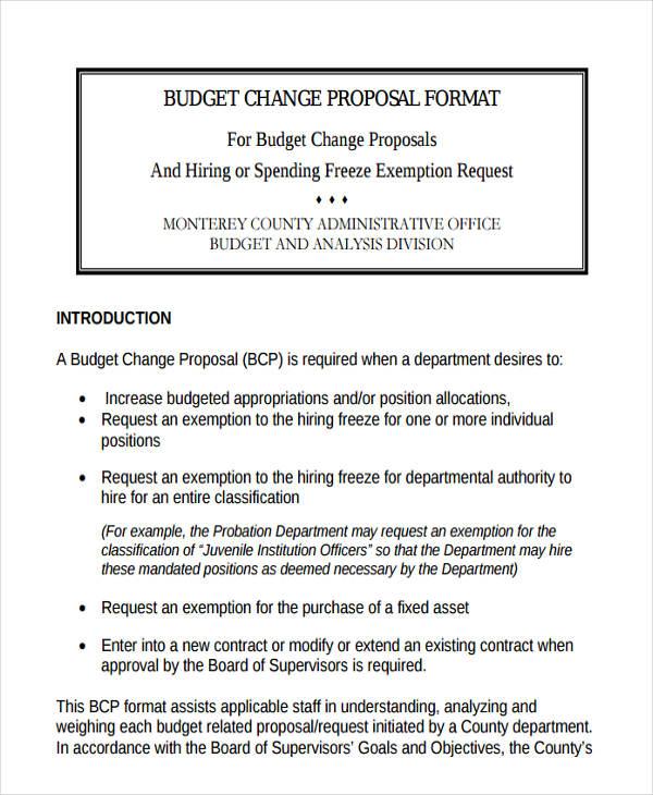 budget change proposal