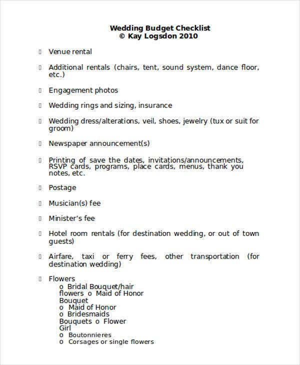 budget checklist for wedding