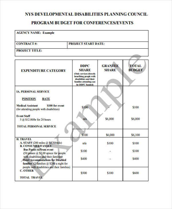 conference budget templates 8 free word pdf format download