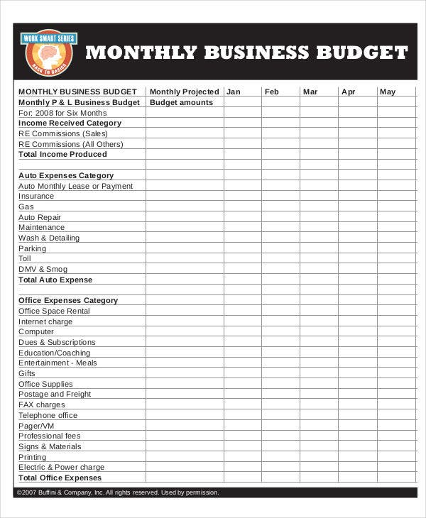 budget for monthly business1