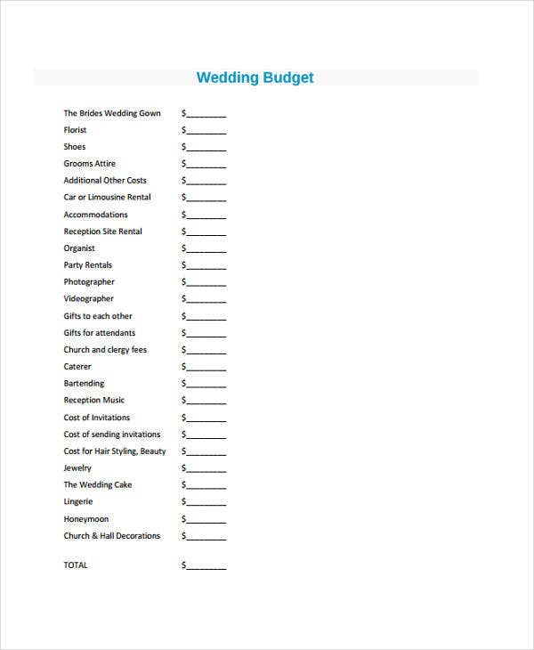 budget for wedding sample