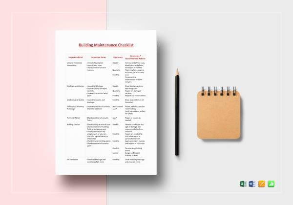 building-maintenance-checklist-template