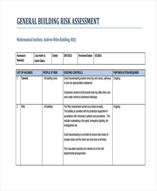 building risk assessment example