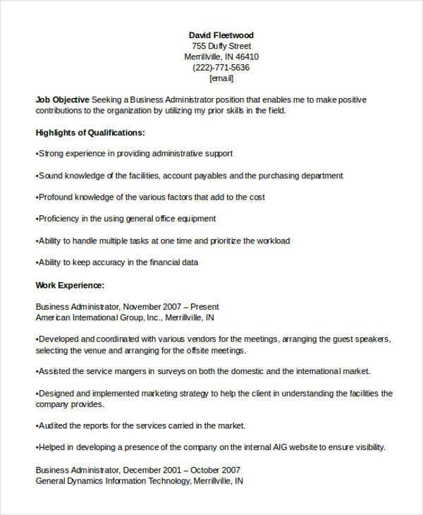 business administration resume example1