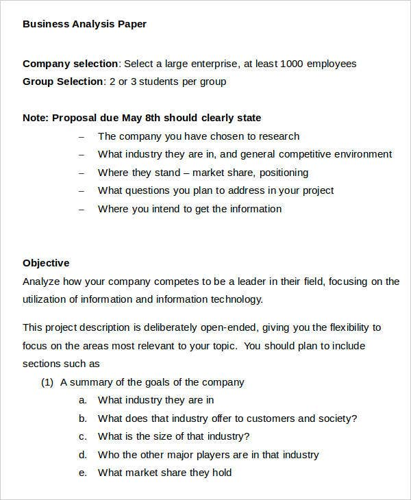 10+ Business Paper Templates U2013 Sample, Example  Analysis Paper Template