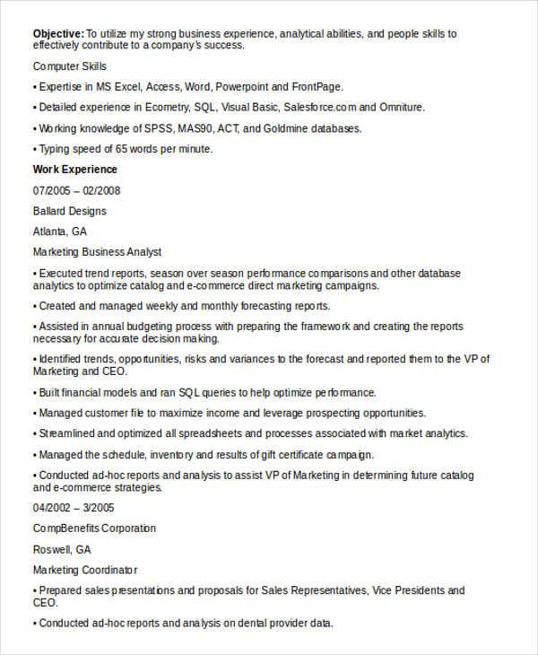 business analyst marketing resume2