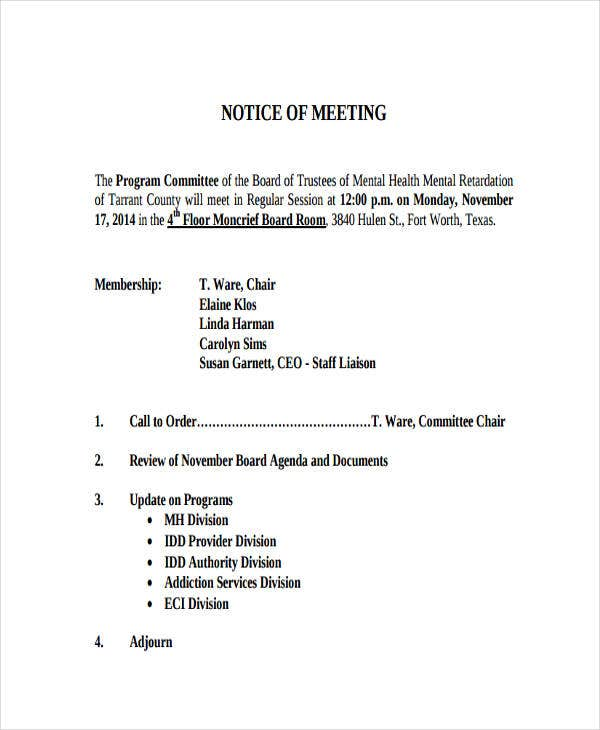 business committee meeting agenda