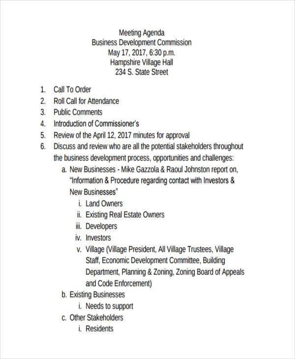business development meeting agenda