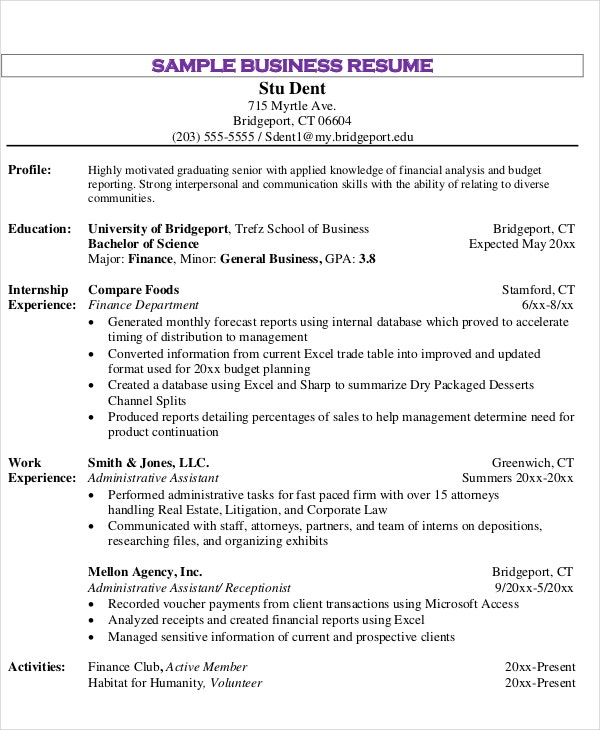 business education resume sample1
